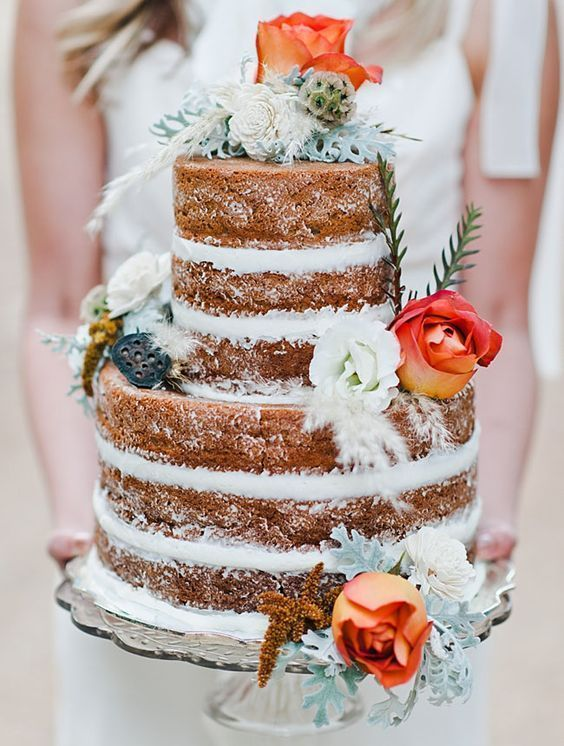 27 Naked Fall Wedding Cakes That Will Make Your Mouth Water: #4. Naked wedding cake with orange roses and pale greenery