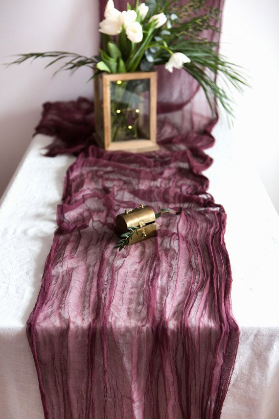Wine Hand dyed organic cheese cloth wedding runner, 100% cottone gauze table runner, pure cotton scrim for wedding decor  ✷ Give your Wedding table a rustic boho look with this wide hand dyed wine color cheesecloth table runner. It is so elegant for your special events, wedding backdrop deccor, table linens, shower party, easter basket or any occasion. Add this lush cotton gauze table runner to perfectly create a textured accent to your tablescape or centerpiece.  ✷ Table decor runners allow…