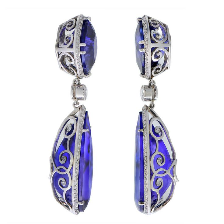 A Pair of Contemporary Tanzanite Earrings image 2