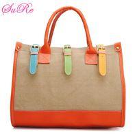 Fashion Vintage Women Color Block Handbag Canvas Shoulder Bag