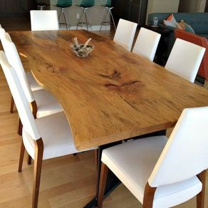 Bookmatched Live Edge Sycamore Dining Table by Donald Mee