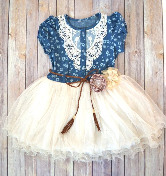 What an adorable gift this Navy and Ivory Toddler Tutu Dress would make for a little cowgirl!