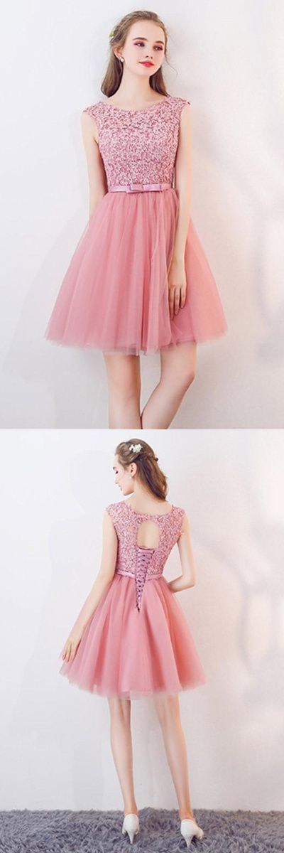A-Line Cap Sleeves Appliques Bowknot Crystal Sashes Homecoming Dress
