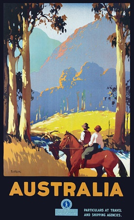 AUSTRALIA - (couple on horseback) James Northfield Vintage Travel Poster c. 1930's. The overlapping, gradual change of colours creates a sense of fore- and background. Tall trees and two riders exaggerates the height of the mountains.