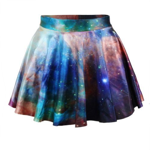 *free ship* blue galaxy print pleated mini skater skirt - 1849970520