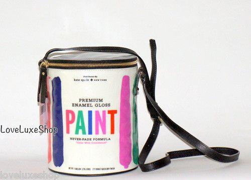 New Kate Spade Brushstroke Paint Bucket Can Handbag Bag Designer Artist Painter   eBay