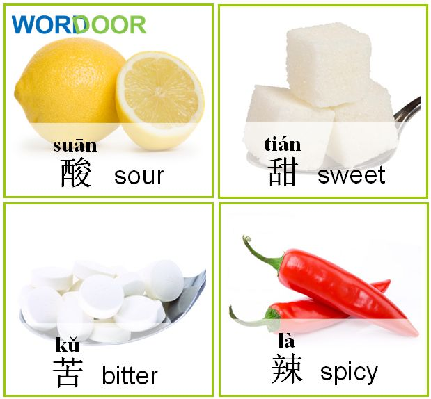 Wordoor Chinese - Words # Sour, sweet, bitter, spicy