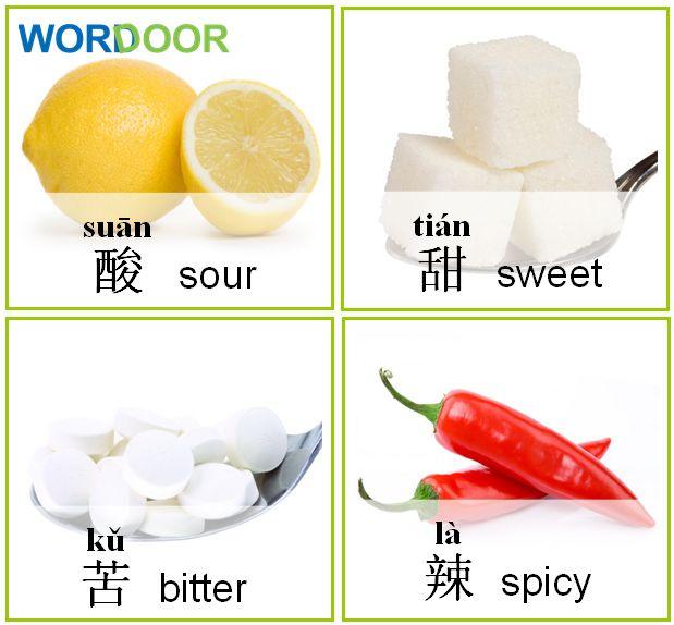 Wordoor Chinese - Words # Sour, sweet, bitter, spicy