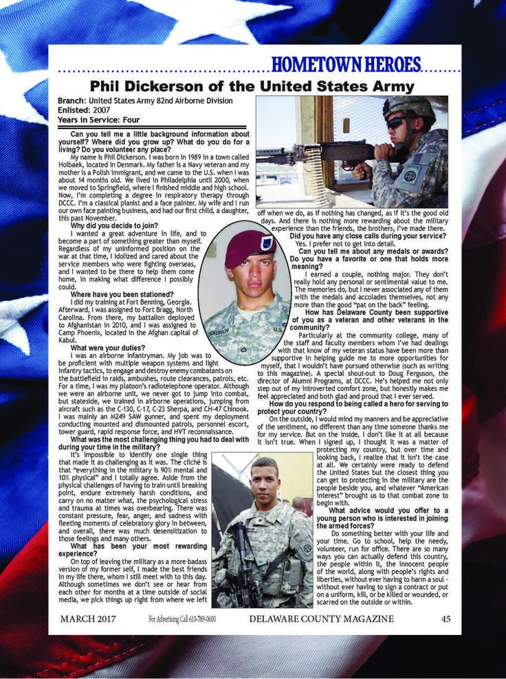 Read about Phil Dickerson, a US Army veteran! #DelawareCountyPA #Army #veteran #Hero