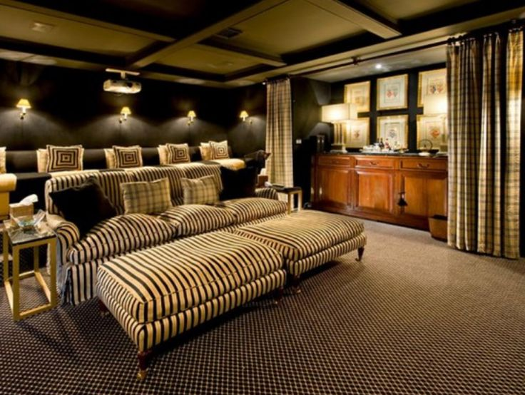 Living Room Home Theater Brown Puffy Sofa Soft Bed Cover Pillow Dark Wooden Cabinet Carpet Floor Curtain Black Wall Color Wood