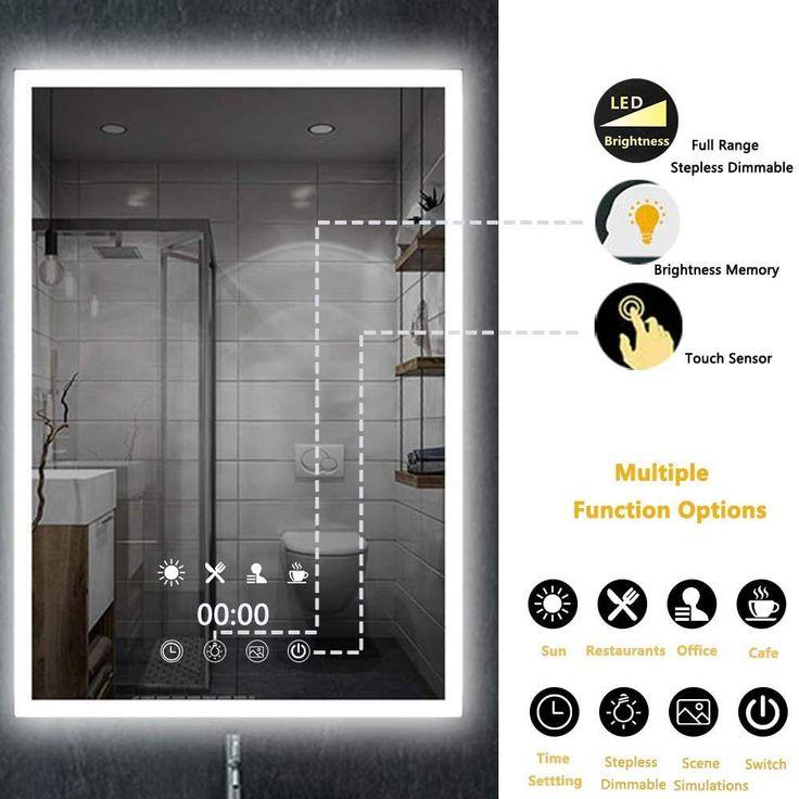 Thsinde - Espejo de baño con luz LED para montaje en pared ...