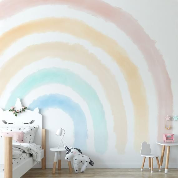 Boho Coral Peach Pink Rainbow Removable Wallpaper Pastel Rainbow Wall Mural Pink Sticker Self Adhesive Peel And Stick Repositionable 055 In 2021 Rainbow Wallpaper Rainbow Wall Decal Kids Room Wall Murals