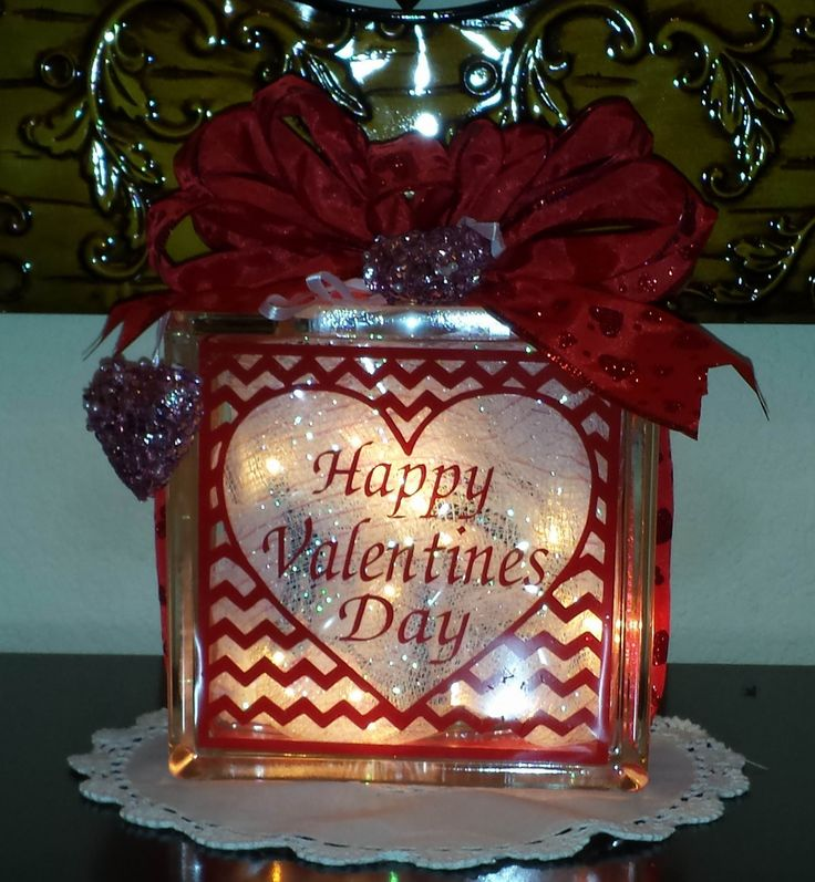 Glass block valentine 39 s day vinyl made with the brother for Hollow glass blocks for crafts
