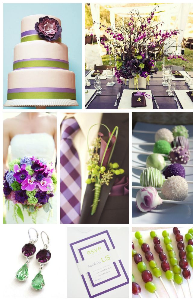 Purple and Green Wedding Inspiration featuring fun, modern wedding invites and details