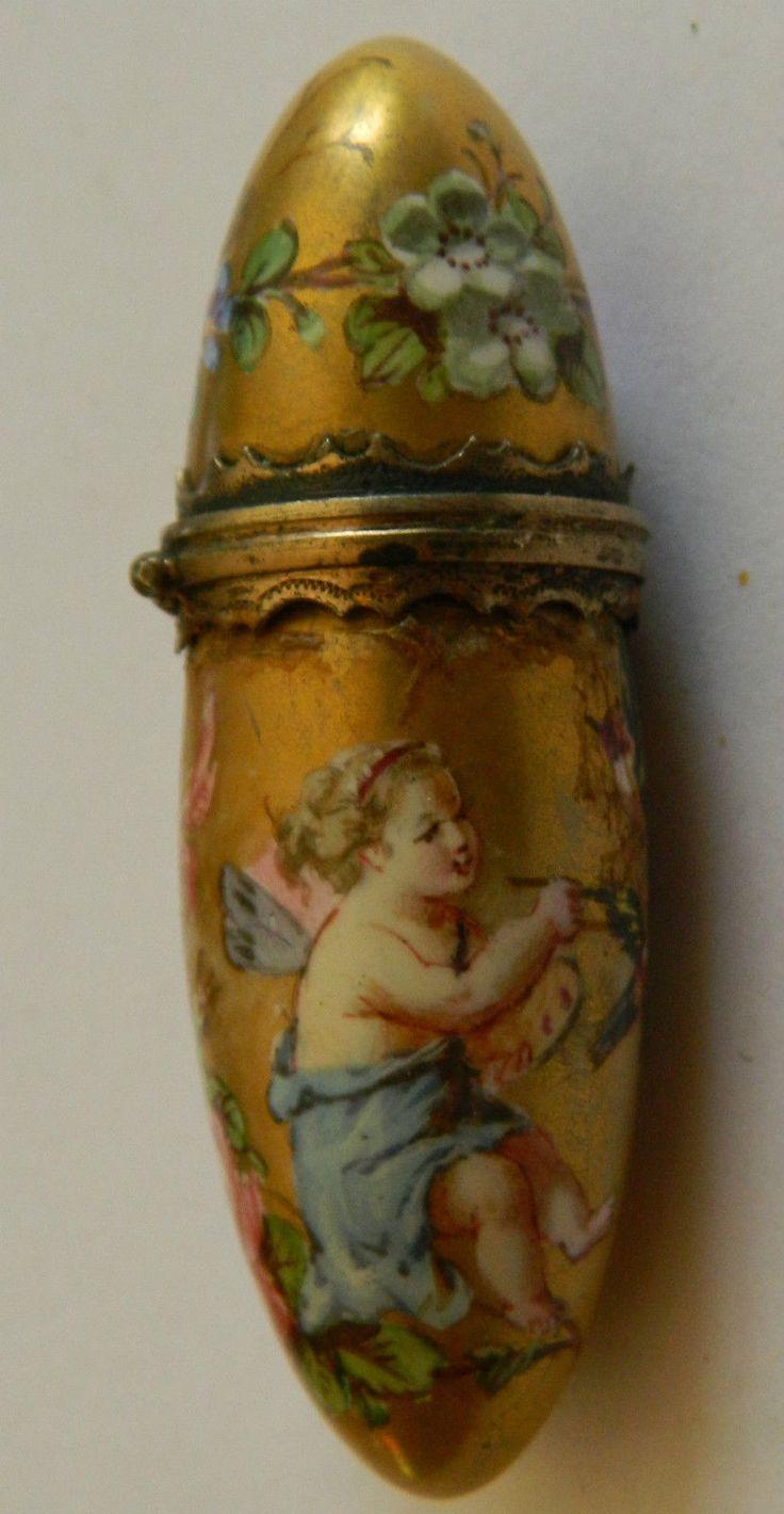 petit flacon Ovoide de parfum XIX° siècle faïence couleur or et polychromie in Art, antiquités, Objets du XIXème, et avant   eBay