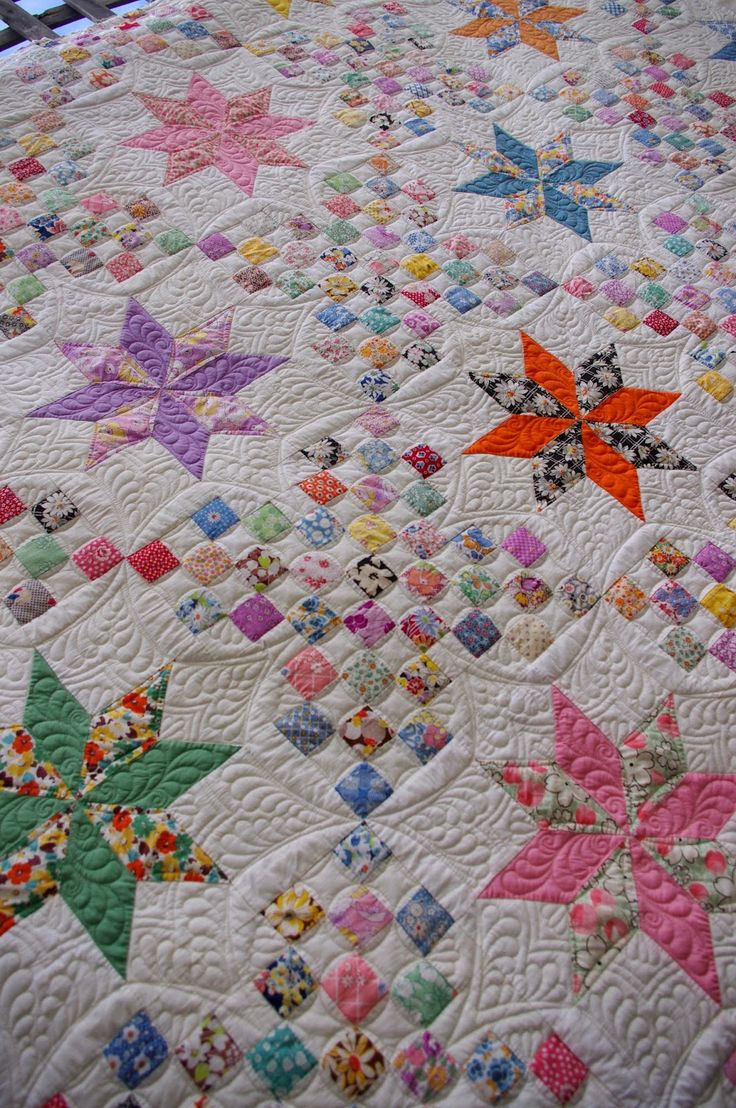 1930's Vintage Le Moyne Star Quilt, quilted by Karen Terrens | Quilts on Bastings:
