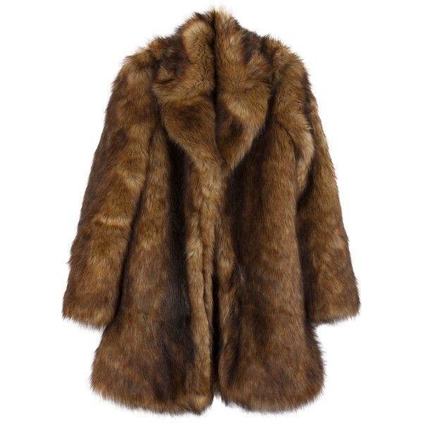 Faux fur coat featuring polyvore, women's fashion, clothing, outerwear, coats, jackets, tops, fake fur coats, brown coat, collar coat, faux fur collar coat and imitation fur coats