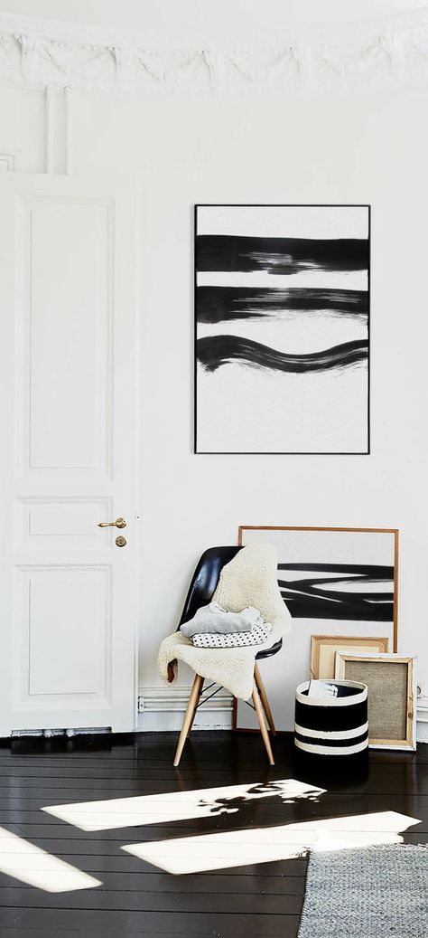 Black And White Large Abstract Painting Giclee by HAUSOFPROSE