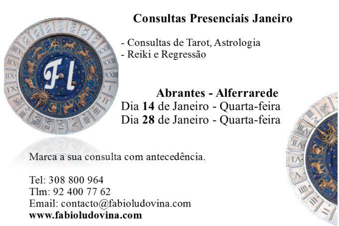 Deixo a informação sobre as datas das consultas presenciais para Janeiro em Abrantes. Para garantir a sua consulta faça a marcação atempadamente para os co