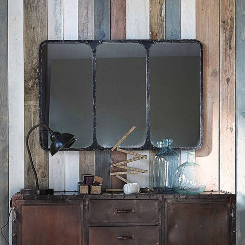 miroir indus en m tal noir effet vieilli h 72 cm titouan objets d co pinterest rencontr. Black Bedroom Furniture Sets. Home Design Ideas