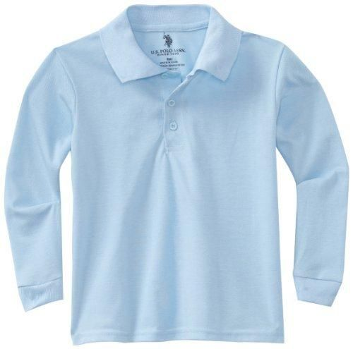 U.S. Polo Association School Uniform Big Boys' Long Sleeve Pique Polo ShirtLight BlueM(10/12)