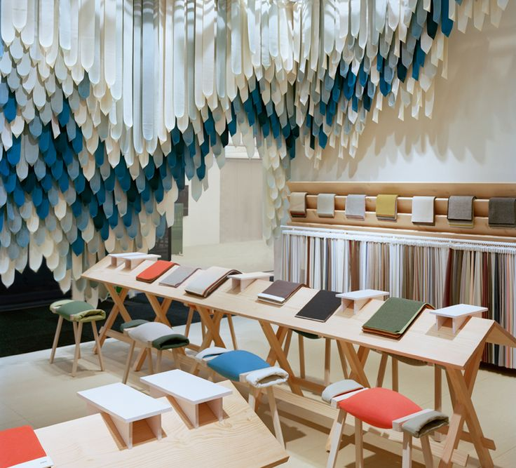 the picnic - textile installation made of 1,500 kvadrat straps by raw edges