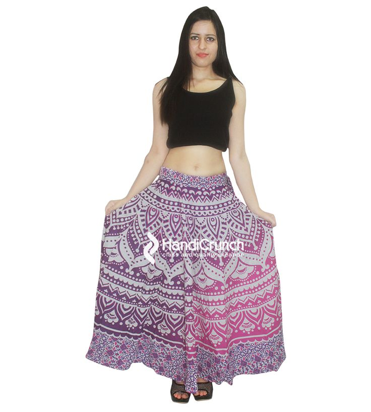 Girls printed long rapron skirt in pink color