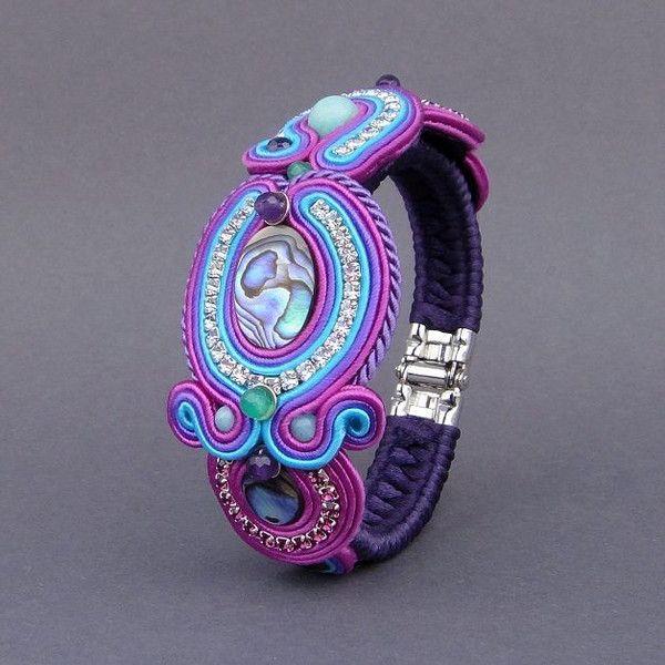Agama bransoleta sutasz z muszlą Paua i amazonitem w Blue Butterfly na DaWanda.com
