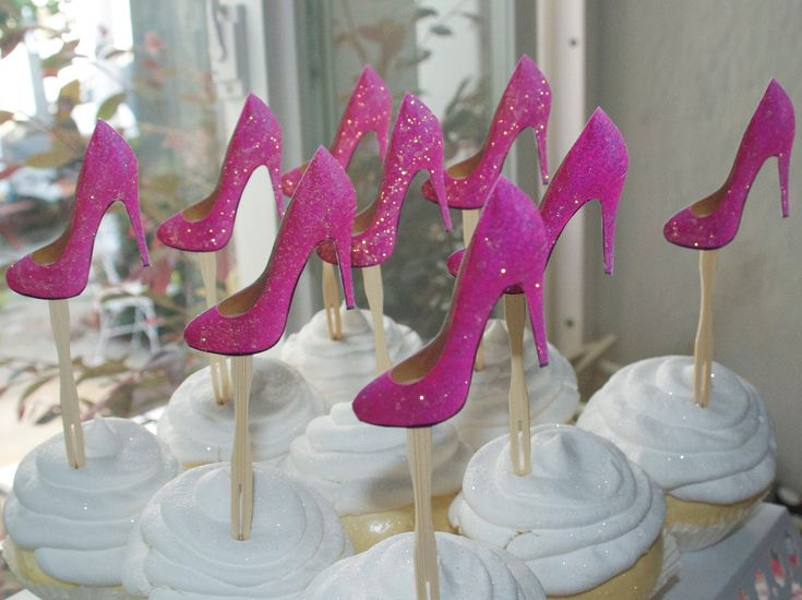 Glittered shoe sex in the city birthday cupcake toppers. Set of 12