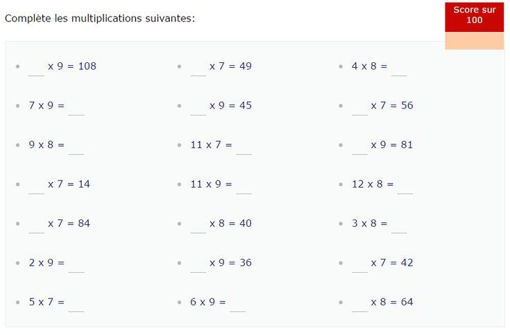 Les 33 meilleures images du tableau math matiques cp for Table de multiplication de 7 et 8