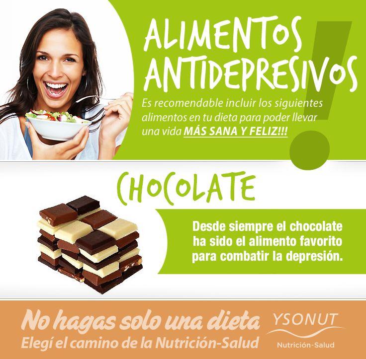 ALIMENTOS ANTIDEPRESIVOS – Llevá una vida MÁS SANA Y FELIZ!  CHOCOLATE – Desde siempre el Chocolate ha sido el alimento favorito para combatir la depresión.  Más información sobre el Plan Nutricional de Aporte Normoproteico: http://ysonut.com.ar/ Teléfonos: (011) 4813-7768 / 0800-345-9766 de lunes a viernes de 9 a 19 hs.  #alimentos #nutrición #ysonut #chocolates