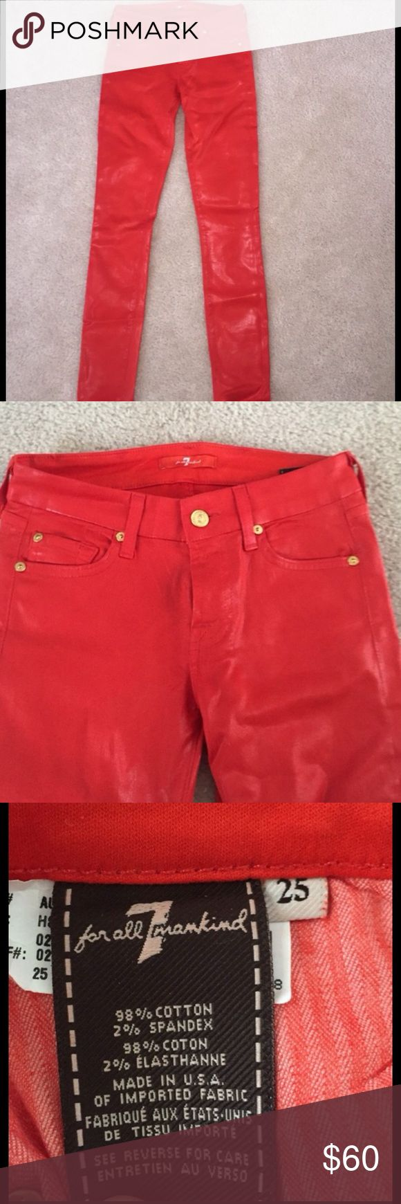 7 For All Mankind Leather orange skinny jeans Leather orange red skinny jeans WORN ONCE practically brand new! 7 For All Mankind Jeans Skinny