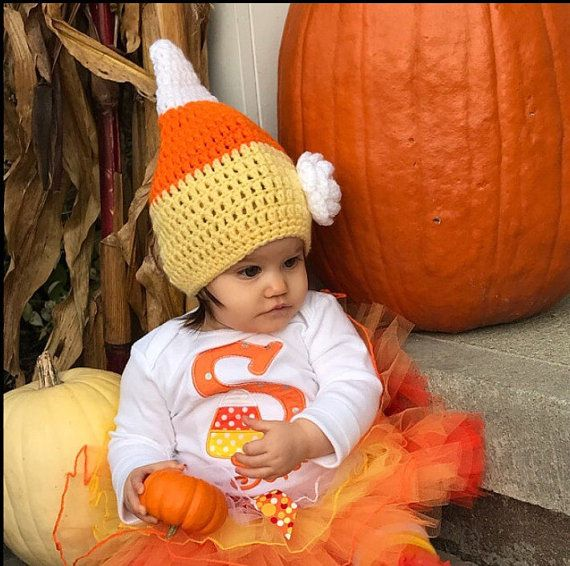 Сладкая кукуруза шляпа с цветок/ Хэллоуин шляпа/ Хэллоуин костюм/ младенца вязания крючком шляпы/ фото реквизит