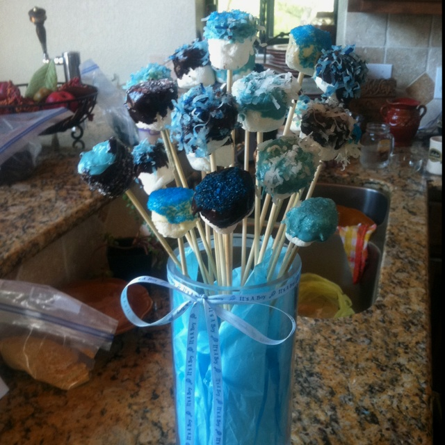Baby shower ideas for boys decorations sports - Marshmallow Pops For Boy Baby Shower Shower Ideas Boy Baby Showers