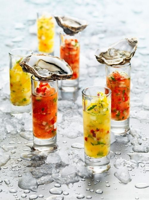 A classy way to eat oysters and gazpacho shooters