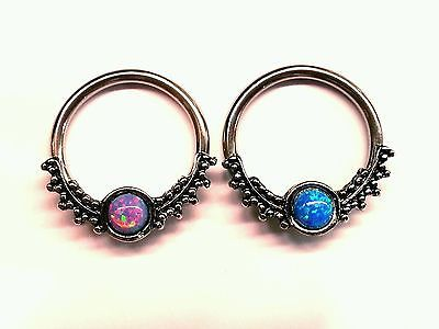 SEPTUM Clicker Ring Spacer Captive Hoop 16g 14g 316L Steel SIMULATED FIRE OPAL
