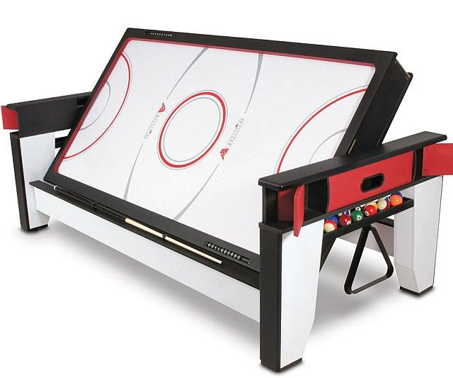 Give the man cave the entertainment center it's been begging for with the addition of the flippable air hockey to billiards table. This well-crafted table helps you maximize both fun and space by providing you with two separate games in one versatile and stylish package.