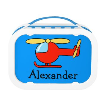 Personalized toy helicopter lunchbox for boy. Cute blue and red chopper illustration for kids. Personalizable with monogram initials or name of your child. Aviation theme design. Gift idea for 1st school day.