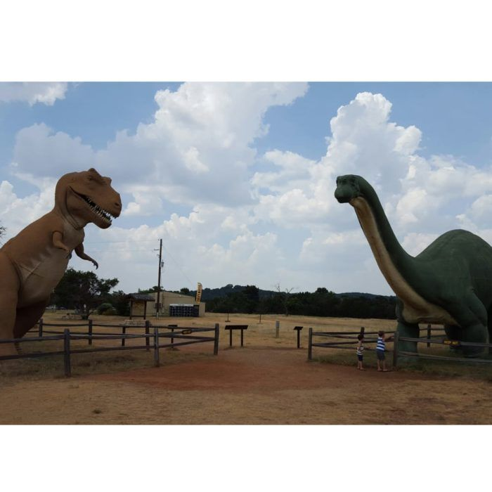 Upon entering the park, you'll be warmly greeted by a pair of life-sized dinosaur replicas beckoning you to come learn more about their species.
