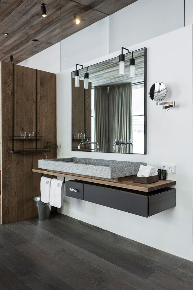 bathroom in Hotel Wiesergut | GOGL ARCHITEKTEN-like the composition of the vanity storage