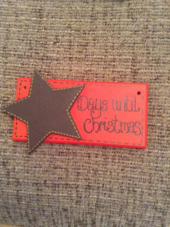 Christmas countdown wooden plaque/ sign on Etsy, £4.99 ... Made by me