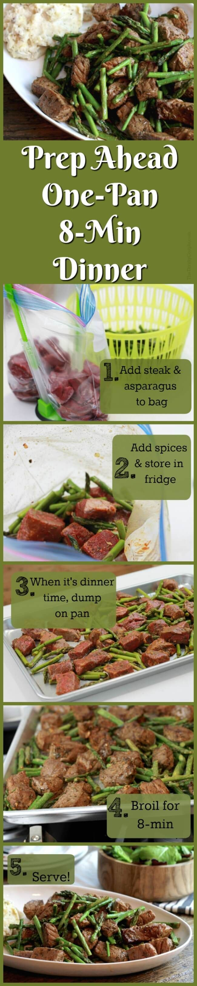 Spicy Steak Bites and Asparagus meal...but with a TWIST! Make ahead in less than 10-minutes. When ready for dinner, pour on the pan and broil in 8-mins! A delicious dinner in under 10-minutes! I am loving these prep-ahead, one-pan meals to make eating dinner at home fast, easy, and healthy! Plus, I love the tips on where to find the meat for less!