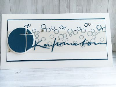 Konfirmation, Karte selber machen, Jeansblau, Incolor; Stampin Up, Playful Backgrounds,