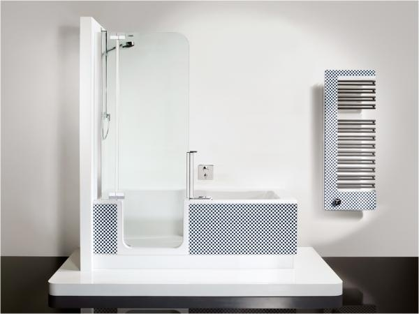 komfortable dusche mit niedrigem einstieg und vollwertige. Black Bedroom Furniture Sets. Home Design Ideas