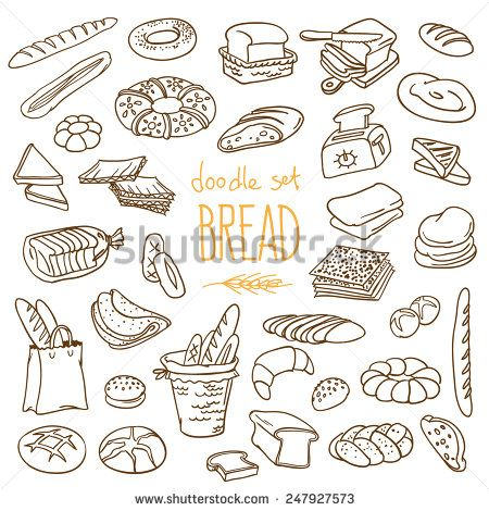 Set Of Various Doodles, Hand Drawn Rough Simple Sketches Of Different Kinds Of Bread. Vector Freehand Illustration Isolated On White Background. - 247927573 : Shutterstock
