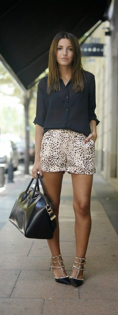 Black Button Up Top with Lepord Short and Studded ...