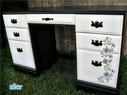 love the idea of painting a pattern over multiple drawers