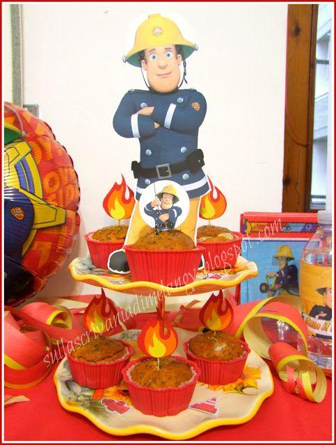 Muffin salati alla pizzaiola per festa a tema il pompiere Sam!   Sulla scrivania di Melangy