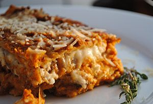 Those cans of pumpkin puree aren't just for pies and breads: The squash also happens to make an unexpected (and delicious) filling for vegetarian lasagna.