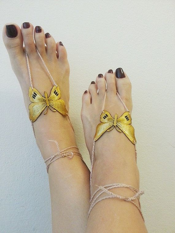Butterfly Barefoot Sandals Nude shoes Foot by ArtofAccessory, $15.00